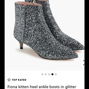 J crew Fiona kitten heel ankle boots in glitter